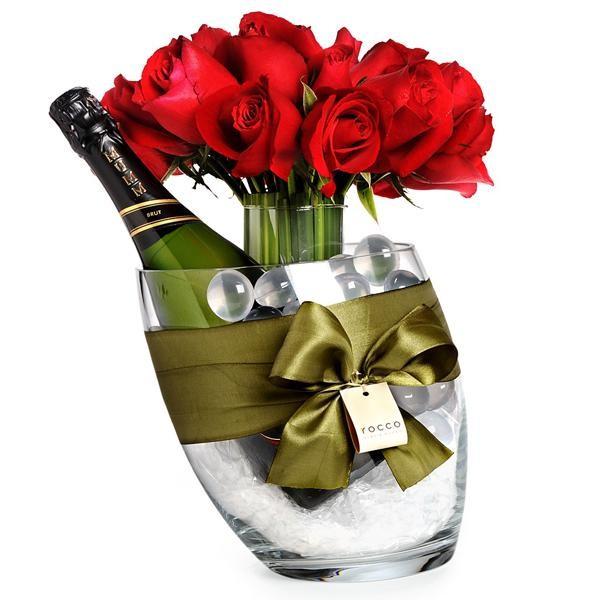 Kit de Arranjo com Rosa Vermelha e Prosecco Mumm em Balde G