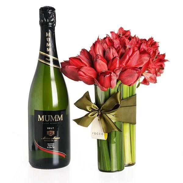 Conjunto Arranjo de Alstro e Tulipa com Prosecco Mumm (M)