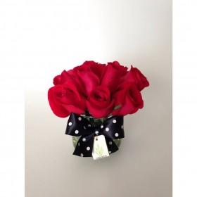 Arranjo com Rosa Vermelha em Copo de Rosa de Vidro (P)