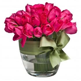 Arranjo com Rosas Pink em Balde de Gelo G