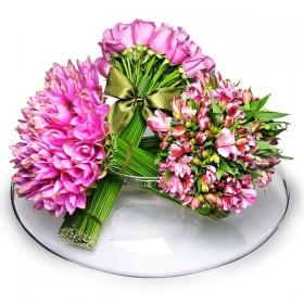 Arranjo de Mix de Flores Pink em Vaso Disco - GG