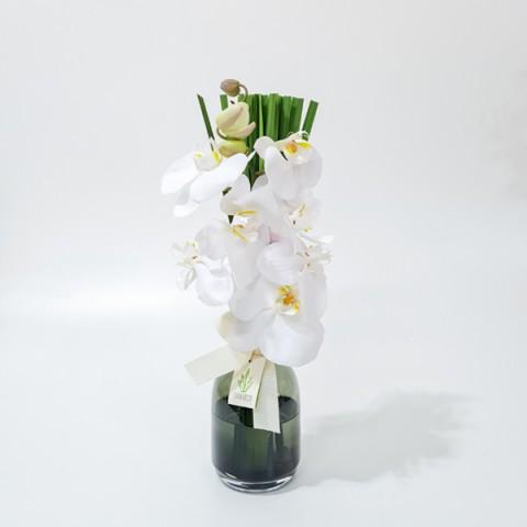 Arranjo de Orquídea Phalaenopsis Branca em Garrafa Fumê - P