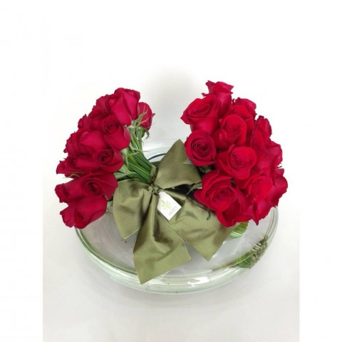 Arranjo com Rosas Vermelhas Colombianas em Disco de Vidro M