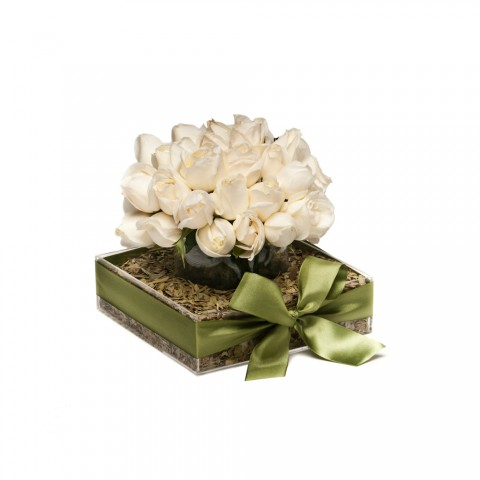 Arranjo de Rosa Branca em Caixa de Acrílico com Copo - M