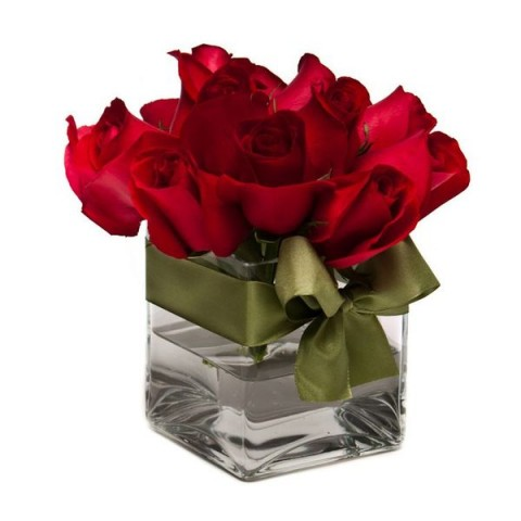 Arranjo de Rosa Vermelha em Cubo de Vidro - P