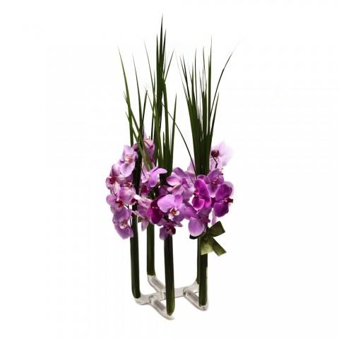 Arranjo de Orquídea Phalaenopsis Pink em Castiçal 5 Pontas - G