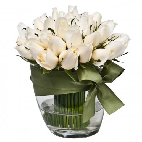 Arranjo de Rosas Brancas em Balde de Gelo M