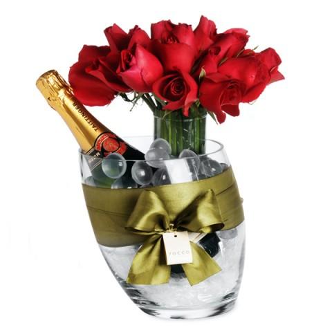 Kit de Arranjo de Rosas Vermelha Columbianas  Champanhe Importada e Balde de Gelo - G